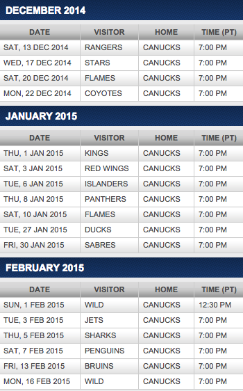 Vancouver Canucks Tickets And Hotel Packages
